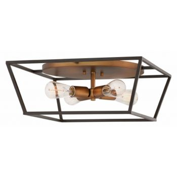 Hinkley Fulton 4-Light Ceiling Light Caged Ceiling Light in Bronze