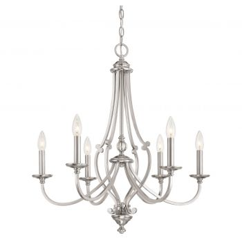 "Minka Lavery Savannah Row 6-Light 26"" Traditional Chandelier in Brushed Nickel"