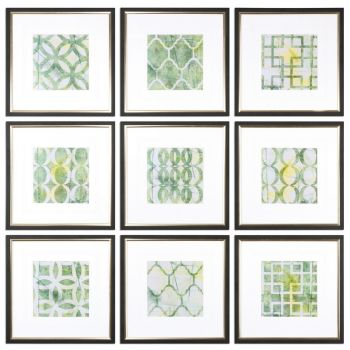Uttermost Metric Links Geometric Art in Black Satin Frame (Set of 9)