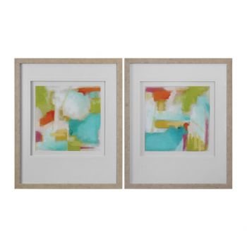 Uttermost Color Space Watercolor Prints in White Washed Wood Frame (S/2)