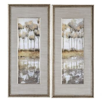"""Uttermost Mozambique 51"""" Tree Prints in Champagne Frame (Set of 2)"""