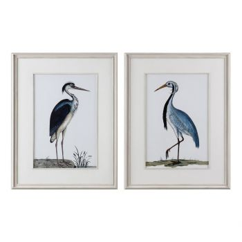 Uttermost Shore Birds Prints in Distressed White Washed Wood Frame (S/2)