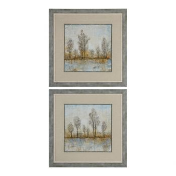 Uttermost Quiet Nature Landscape Prints in Reclaimed Wood Frame (S/2)