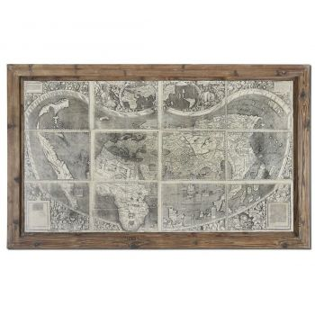 Uttermost Treasure Map Tuscan-European Art in Reclaimed Wood Frame