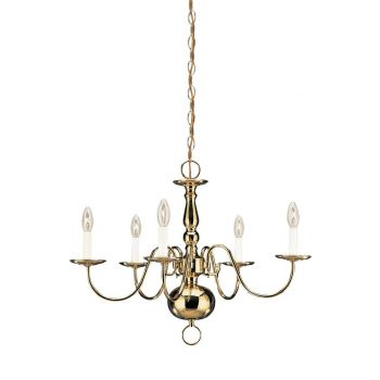 """Sea Gull Lighting Traditional 23.5"""" 5-Light Chandelier in Polished Brass"""