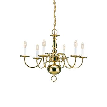Sea Gull Lighting Traditional 6-Light Chandelier in Polished Brass