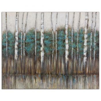 "Uttermost Edge Of The Forest 51"" Hand Painted Canvas Landscape Art"