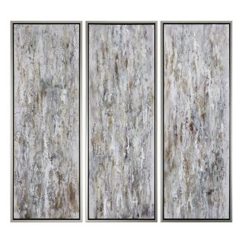 "Uttermost Shades Of Bark 62"" Modern Art in Silver Leaf Frame (Set of 3)"