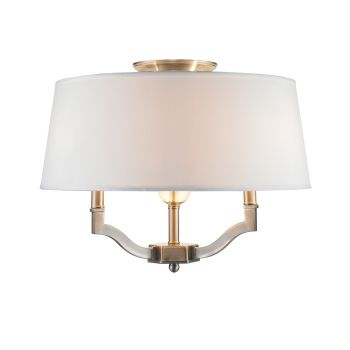 Golden Lighting Waverly Semi-Flush (Convertible) in Pewter w/ Classic White Shade