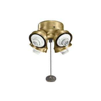Kichler Accessory 4 Light Turtle Ceiling Fan Fitter in Natural Brass