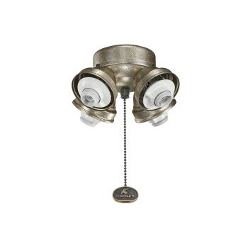 Kichler Accessory 4 Light Turtle Ceiling Fan Fitter in Sterling Gold