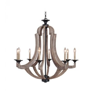 Craftmade Winton Rustic 8-Light Chandelier in Weathered Pine and Bronze