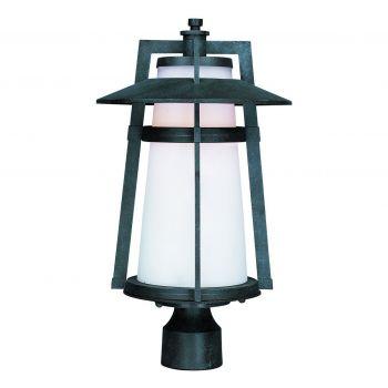 "Maxim Calistoga 19"" Outdoor Satin White Glass Post Lantern in Adobe"