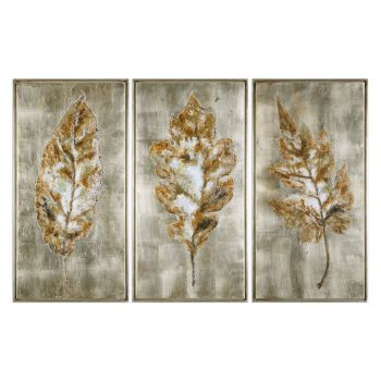 Uttermost Champagne Leaves Modern Art in Burnished Champagne Frame (S/3)