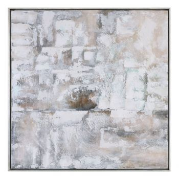 "Uttermost Luxe 41.38"" Canvas Abstract Art in Silver Leaf Gallery Frame"