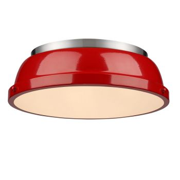 "Golden Lighting Duncan 14"" Flush Mount in Pewter with Red Shade"