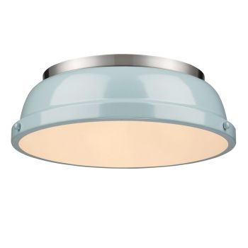 "Golden Lighting Duncan 14"" Flush Mount in Pewter with Seafoam Shade"