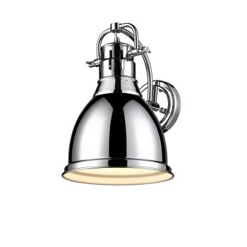 Golden Lighting Duncan 1-Light Wall Sconce in Chrome with Chrome Shade