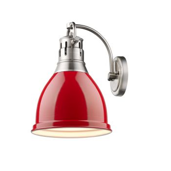 Golden Lighting Duncan 1-Light Wall Sconce in Pewter with Red Shade