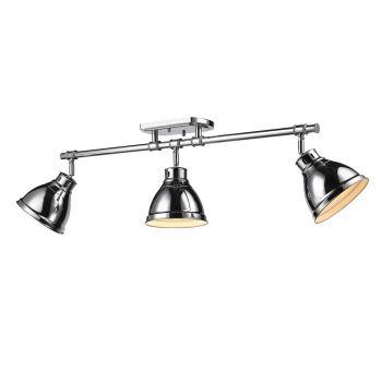 Golden Lighting Duncan 3-Light Semi-Flush - Track-Light in Chrome w/ Chrome Shades