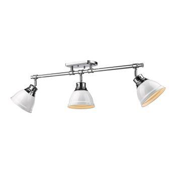 Golden Lighting Duncan 3-Light Semi-Flush - Track-Light in Chrome w/ White Shades
