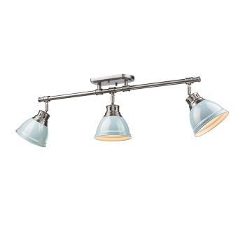Golden Lighting Duncan 3-Light Semi-Flush - Track-Light in Pewter w/ Seafoam Shades