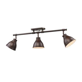 Golden Lighting Duncan 3-Light Semi-Flush Track-Light in Bronze w/ Rubbed Bronze Shades