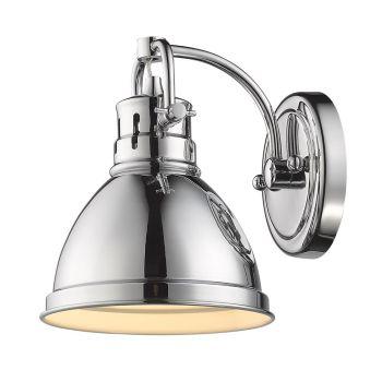 Golden Lighting Duncan 1-Light Bath Vanity in Chrome with Chrome Shade