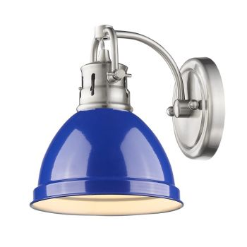 Golden Lighting Duncan 1-Light Bath Vanity in Pewter with Blue Shade