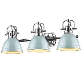 Golden Lighting Duncan 3-Light Bath Vanity in Chrome with Seafoam Shade