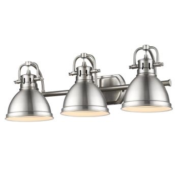 Golden Lighting Duncan 3-Light Bath Vanity in Pewter with Pewter Shade