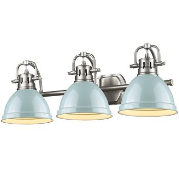 Golden Lighting Duncan 3-Light Bath Vanity in Pewter with Seafoam Shade