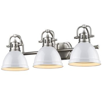 Golden Lighting Duncan 3-Light Bath Vanity in Pewter with White Shade