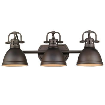 Golden Lighting Duncan 3-Light Bath in Rubbed Bronze w/ Rubbed Bronze Shade