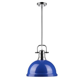 Golden Lighting Duncan 1-Light Pendant with Rod in Chrome with Blue Shade