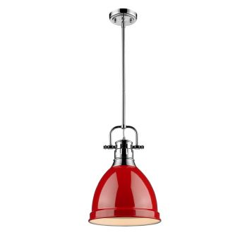 Golden Lighting Duncan Small Pendant with Rod in Chrome with Red Shade