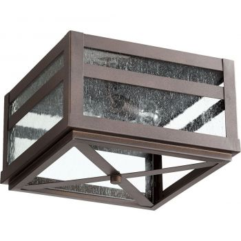 "Quorum Clermont 12.75"" 2-Light Outdoor Flush Mount in Oiled Bronze"