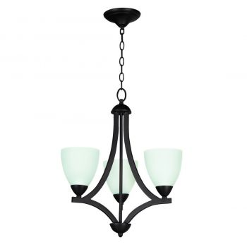 Craftmade Almeda 3-Light White Frosted Chandelier in Old Bronze