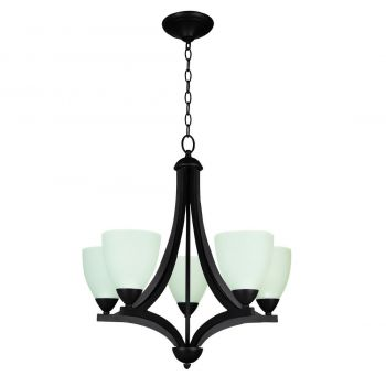 Craftmade Almeda 5-Light White Frosted Chandelier in Old Bronze