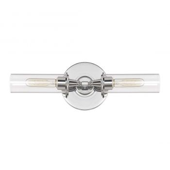 "Jeremiah Modina 19.5"" 2-Light Clear Wall Sconce in Chrome"