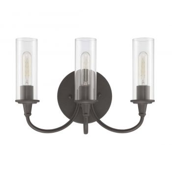 "Craftmade Modina 11.25"" 3-Light Clear Glass Vanity Light in Espresso"