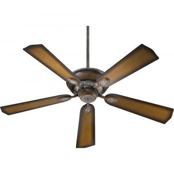 "Quorum International Kingsley 52"" Indoor Ceiling Fan in Mystic Silver With Pecan"