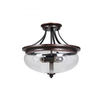 Craftmade Stafford 3-Light Semi Flush Ceiling Light in Aged Bronze/Textured Black