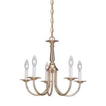 """Sea Gull Lighting Traditional 18.5"""" 5-Light Chandelier in Polished Brass"""