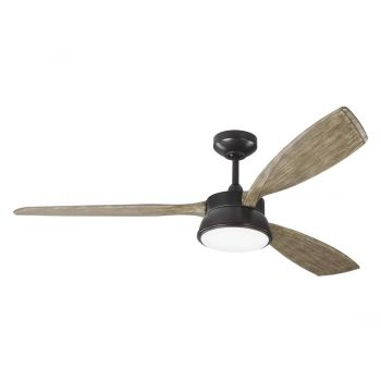 Monte Carlo Destin LED Fan in Aged Pewter w/ Grey Weathered Oak Blades