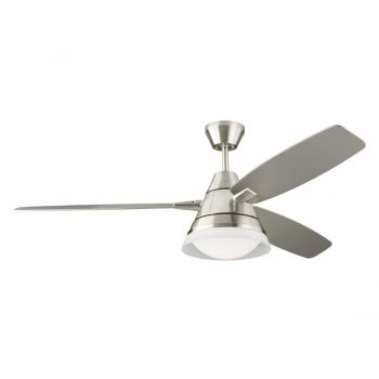 "Monte Carlo Nord 54"" LED Ceiling Fan in Brushed Steel w/ Silver Blade"