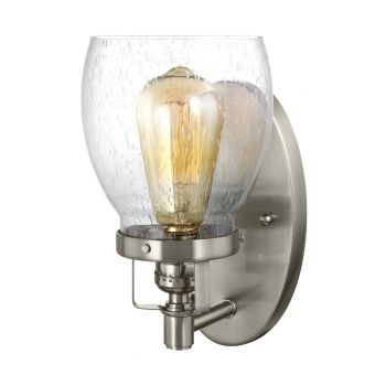 """Sea Gull Belton 9.75"""" Clear Seeded Wall Sconce in Brushed Nickel"""