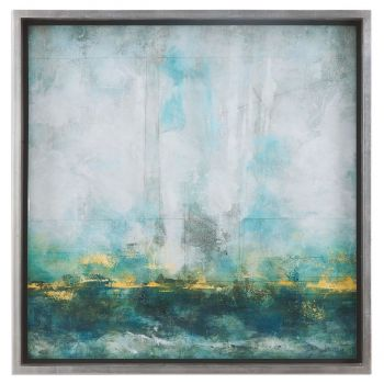 Uttermost Aqua Blue Abstract Art in Silver Leaf Frame