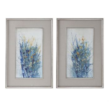 "Uttermost Indigo Florals 41.5"" Art in Distressed Silver Frame (Set of 2)"