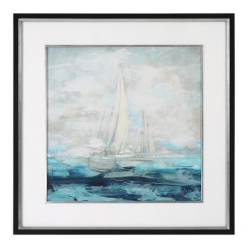 """Uttermost Into The Distance Sailing 49.13"""" Print in Black Satin Frame"""